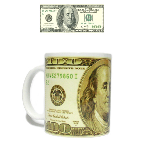 Кружка керамическая подарочная 100 долларов