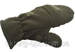 Перчатки-варежки флис зеленый