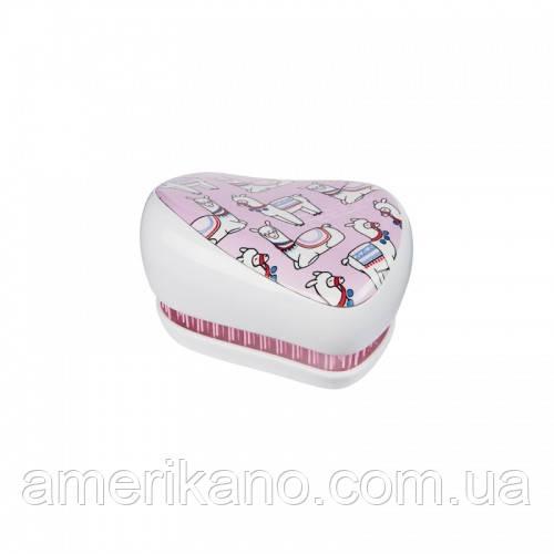 Расческа для волос Tangle Teezer Compact Styler компактная с крышкой Lovely Llama Цвет: сиреневый/белый