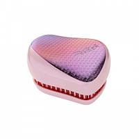 Расческа для волос Tangle Teezer Compact Styler компактная с крышкой Sunset Pink Цвет:сиреневый/розовый хром, фото 1