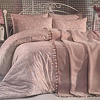 Комплект постельного белья евро c покрывалом Zümrüt ev tekstili «Floransa»