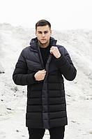 """Куртка мужская Pobedov """"Zirka"""" на зиму длинная парка Победов из плащевки в черном цвете"""