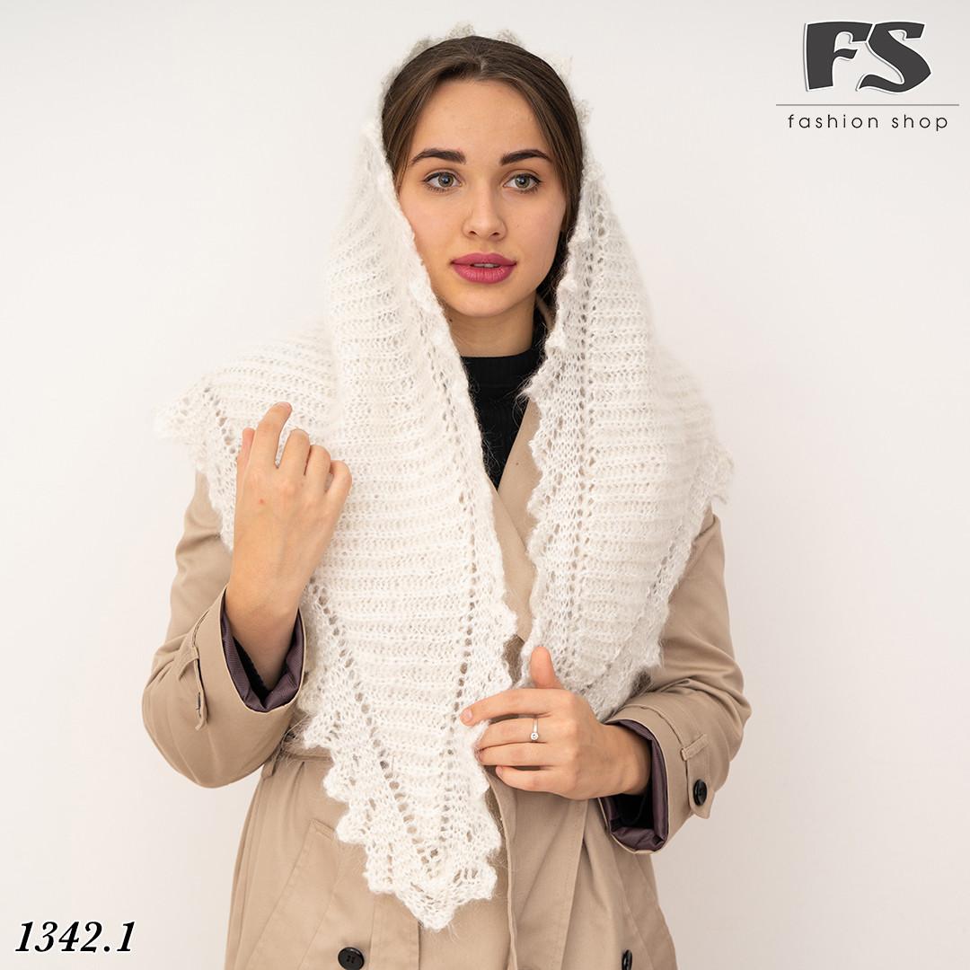 Оренбургский белый пуховый платок-косынка Беата 135см х 85см