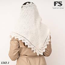 Оренбургский белый пуховый платок-косынка Беата 135см х 85см, фото 2