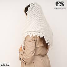 Оренбургский белый пуховый платок-косынка Беата 135см х 85см, фото 3