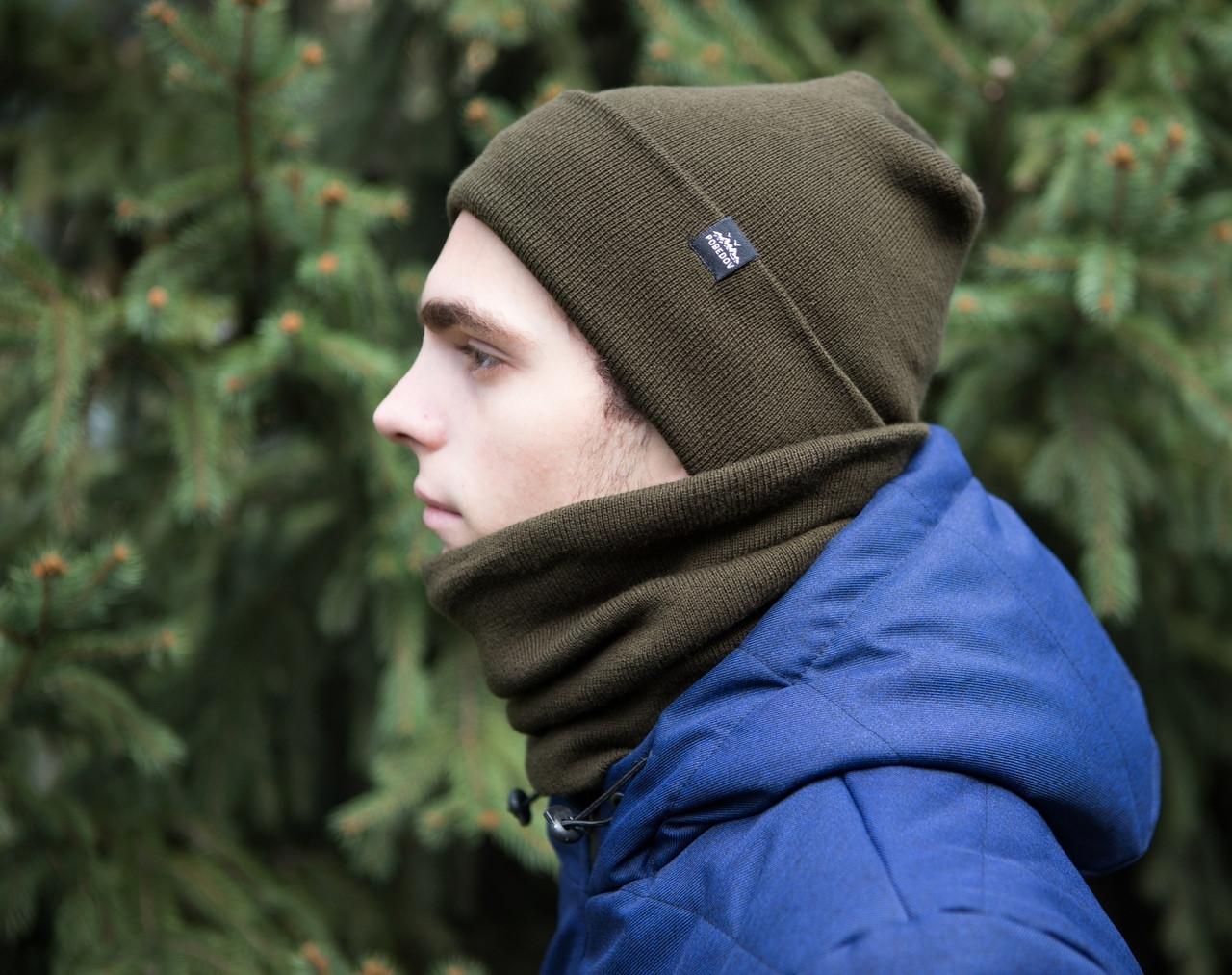 """Стильная мужская зимняя шапка """"С подворотом"""" цвет хаки"""