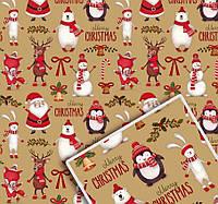 Крафт бумага для упаковки подарков Новогодняя в листах 100х70 см.