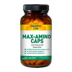 Аминокислоты Max-Amino Caps (180 кап) Country Life
