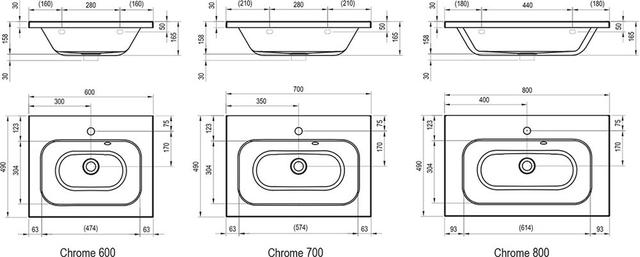 Умивальник Chrome 600 / 700 / 800