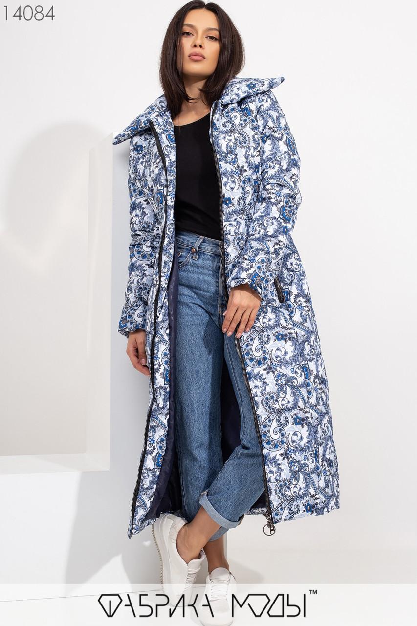 Длинное приталенное пальто кроя кокон на молнии с объемным воротником и прорезными карманами 14084