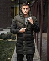"""Мужская куртка Pobedov """"Zirka"""" теплая зимняя парка Победов с капюшоном из плащевки (черная/хаки), Оригинал"""