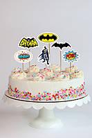 """Набор средние топперы в торт (8см) вырубка """"Бэтмен / Бетмен / Batman """" (6шт./уп.)"""
