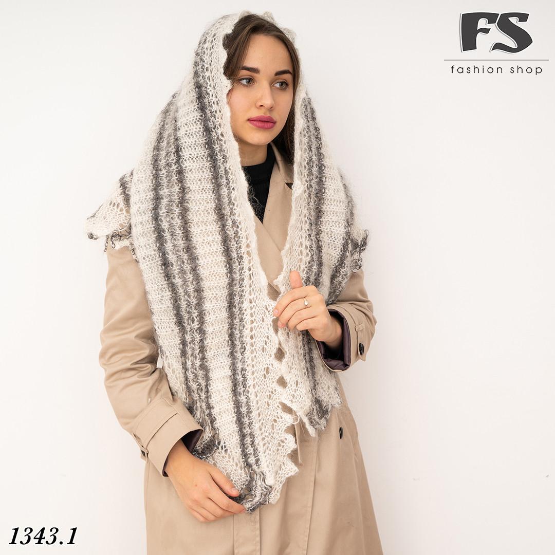 Оренбургский  пуховый платок-косынка Любава 160см х 105см