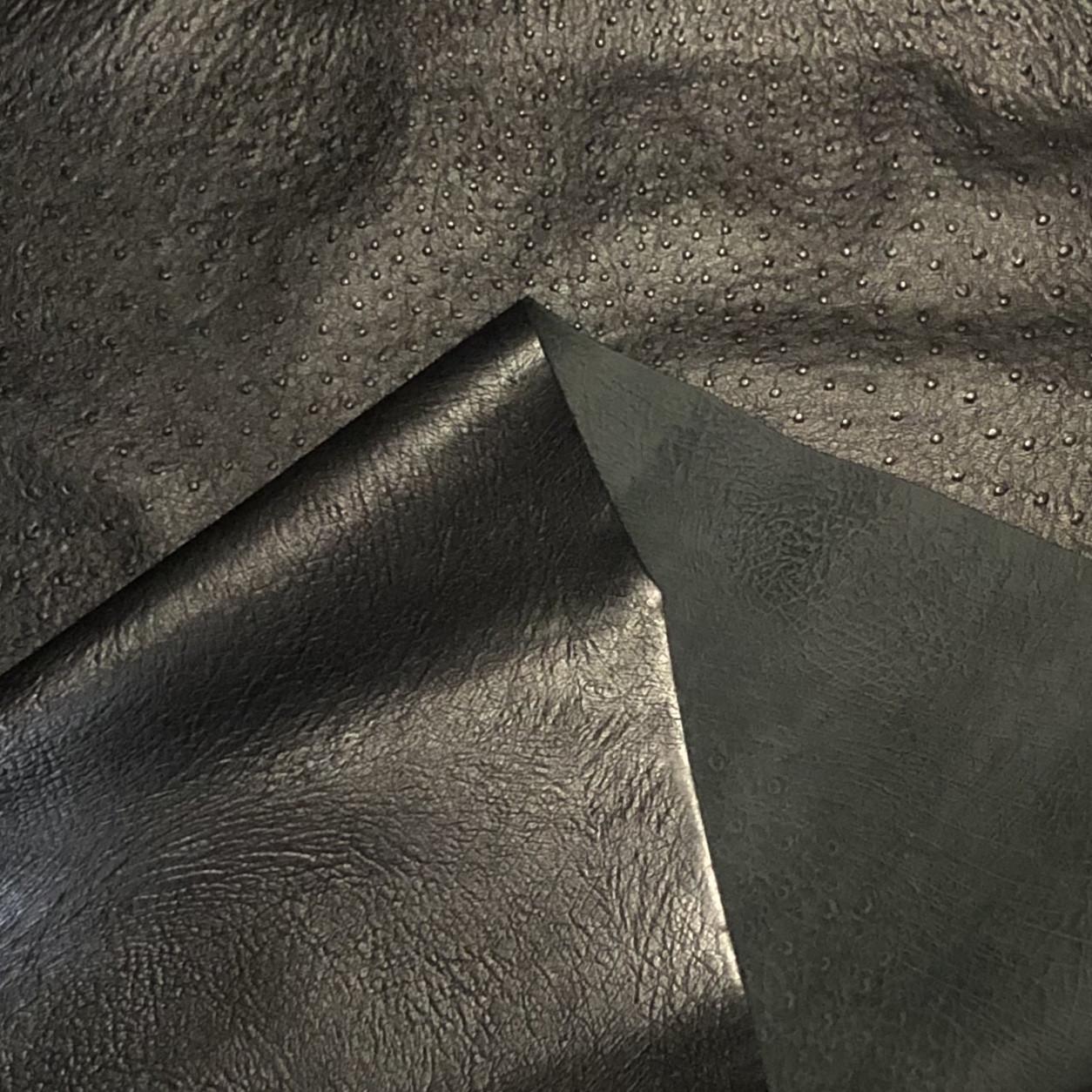 Шкіра страус 0.9 mm принт чорний 122 кв. дц ITALY