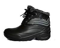 Ботинки дутики Мужские утепленные на шнурках (черные)