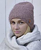 Зимняя шапка для подростка Венеция, пыльная роза (ОГ 54-57)