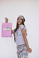 Женская хлопковая пижама с единорогами (хлопковые штаны, трикотажная футболка с карманом и маска для сна)