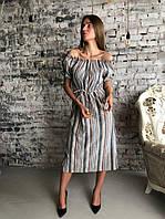 Женское платье лён цветная полоска высочайшее качество