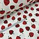 Ткань муслин Двухслойная клубника красная на белом (шир. 1,55 м), фото 2