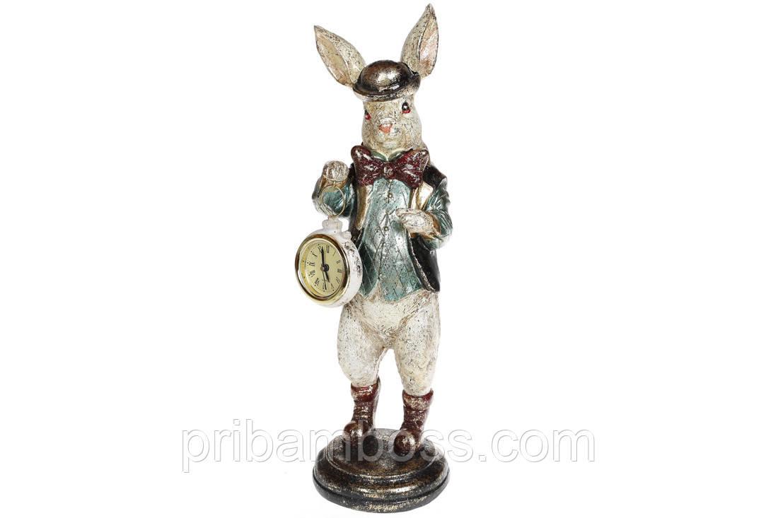 Декоративная фигура с часами Белый кролик 30см