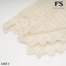 Оренбургский белый пуховый платок-косынка Беата 120 см х 80 см, фото 3