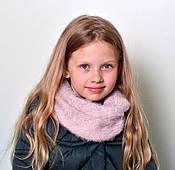 Зимний пушистый шарф снуд Венеция: пыльная роза, пудра, красный, св.серый