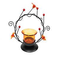 Подсвечник на 1 свечу 14 см металл черный круг с оранжевый стакан (42602.001)