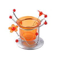Подсвечник на 1 свечу металл серебристый оранжевый стакан  8х10х9 см (42603.001)