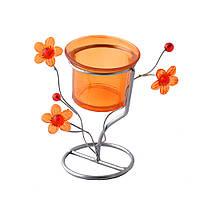 Подсвечник на 1 свечу металл серебристый оранжевый стакан на ножке  11х12х7 см (42603.002)