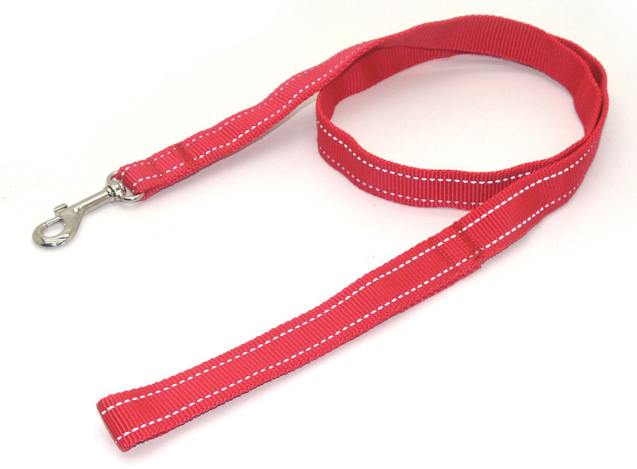Поводок для собак капроновый светоотражающий ПКЛ Неон 1,6/120 см красный