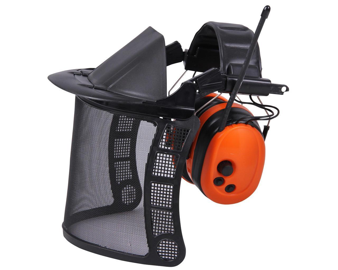 Щиток сетка с fm радио наушниками 28db для газонокосильщика и лесоруба.