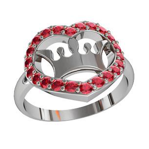 Кольцо  женское серебряное Корона в Сердце