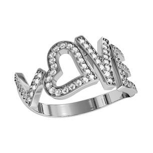 Кольцо  женское серебряное Love с камнями