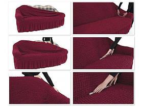 Чехол на диван и два кресла Жаккард Коричневый Milano Karna Турция 50033, фото 2