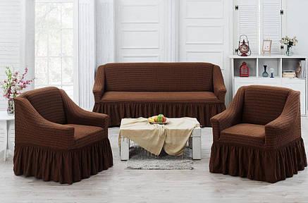 Чехол на диван и два кресла с юбкой Коричневый Home Collection Evibu Турция 50026, фото 2