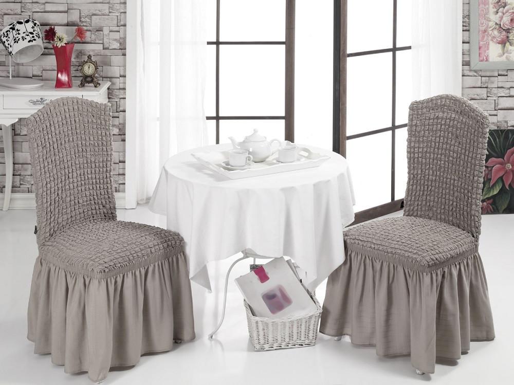 Чехол на стул с юбкой Кофейный Home Collection Evibu Турция 50065
