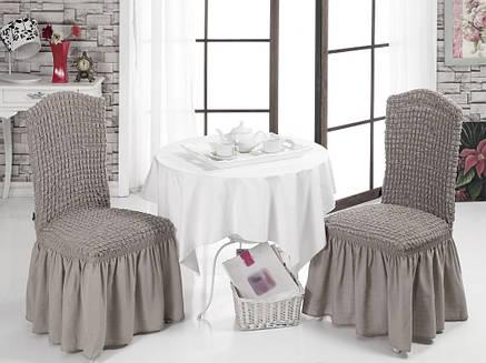 Чехол на стул с юбкой Кофейный Home Collection Evibu Турция 50065, фото 2
