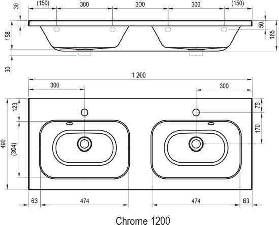 Подвійний умивальник Chrome 1200