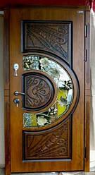 Дверь входная Адамант New со стеклом и ковкой серии Комфорт ТМ Каскад