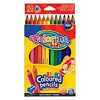 """Карандаши """"JUMBO"""" цветные, треугольные, 12 цветов + точилка, ТМ COLORINO, 15530"""