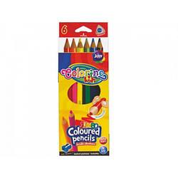 """Карандаши """"JUMBO"""" цветные, треугольные, 6 цветов + точилка, ТМ COLORINO, 15516"""