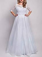 Красивое свадебное платье для полных девушек с рукавами и кружевом СВ-7073к