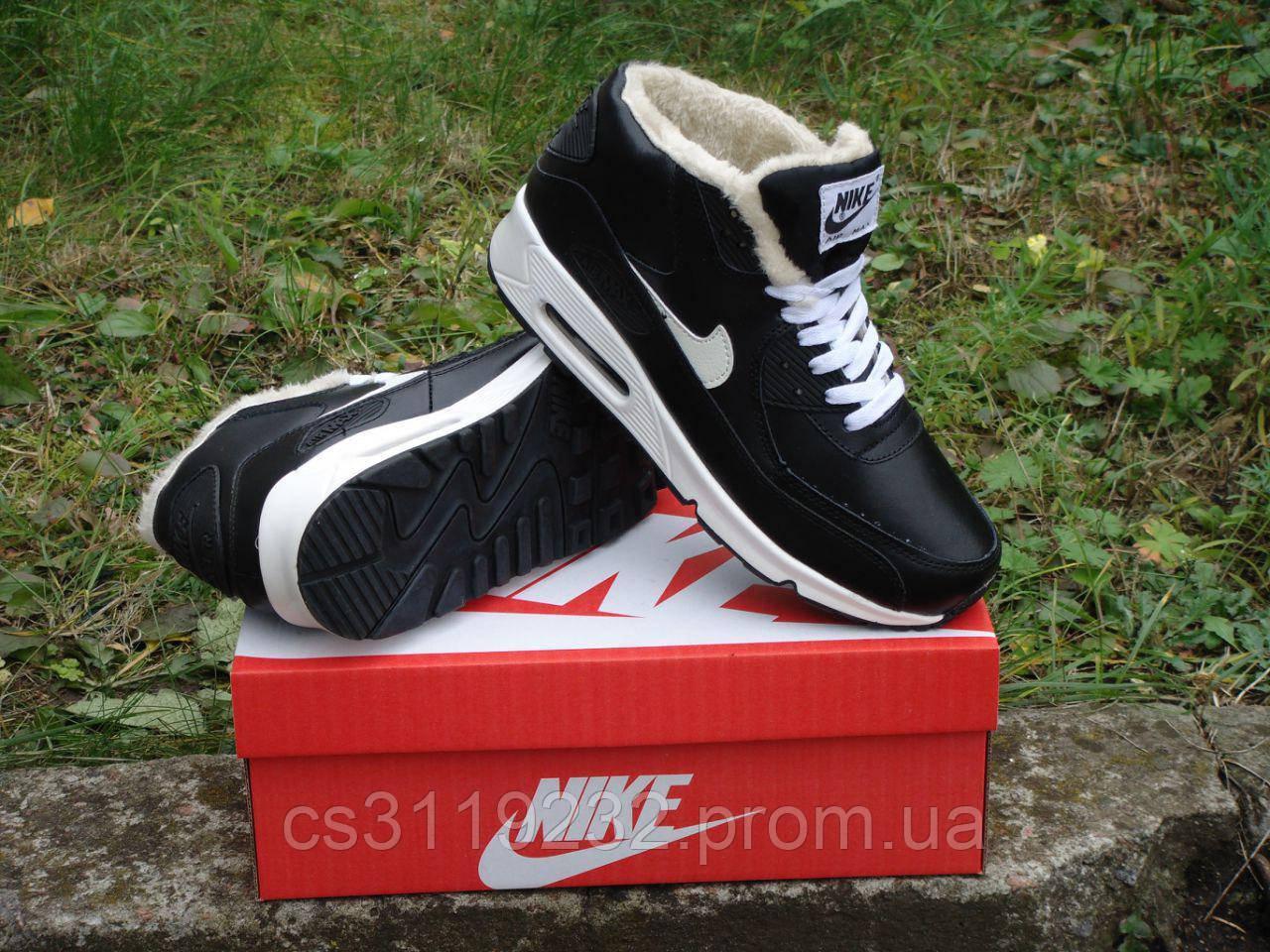 Мужские кроссовки зимние Nike Air Max Winter (мех) (черные)
