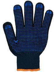 Перчатки рабочие 6 нитей c ПВХ-точкой черные Twist 70%хлопок 30%полиэстер
