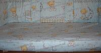 Бортики, бампер в кроватку детскую-Мишка на подушке Животные принты, голубой
