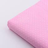 """Сатин ткань """"Белые точки 2 мм"""" на розовом №1793с, фото 5"""