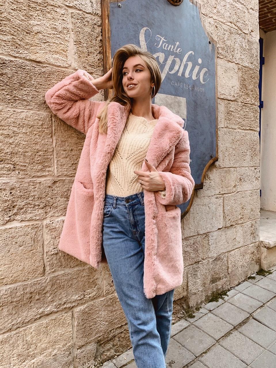 Женская короткая шуба с английским воротником розового цвета 42-46 р