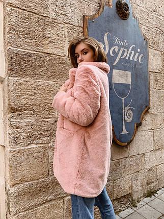 Женская короткая шуба с английским воротником розового цвета 42-46 р, фото 2