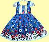 """Нарядное детское синее платье """"Летние цветы"""" р.3 (98 см)"""