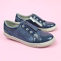 Туфлі шкільні Сліпони для дівчаток сині підліткові Tom.m розмір 34,37, фото 1